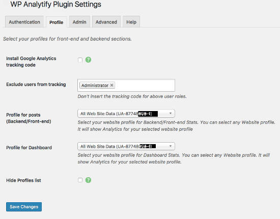 WP analytify settings