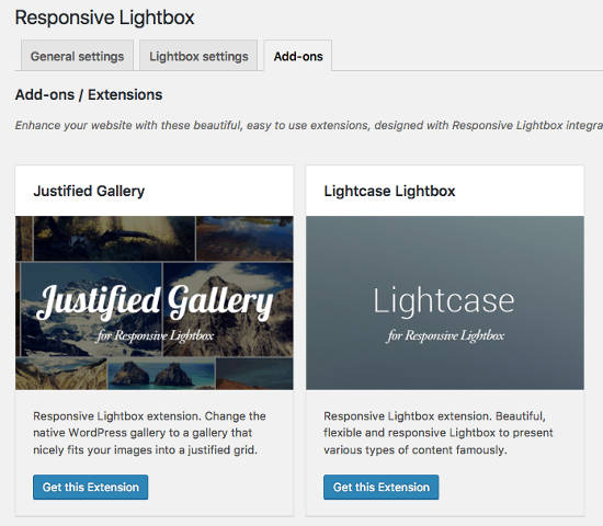 Add Ons Responsive Lightbox