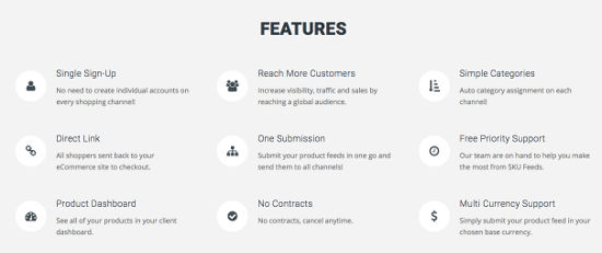 SKU Feed Features