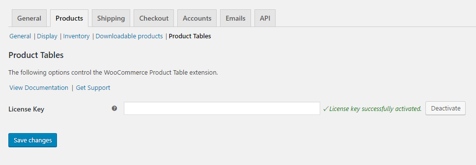 woocommerce product table license
