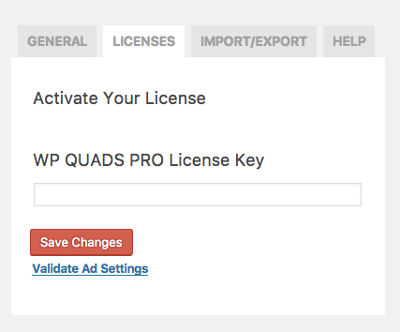 WP Quads Settings License