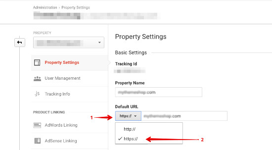 Google Analytics Select property