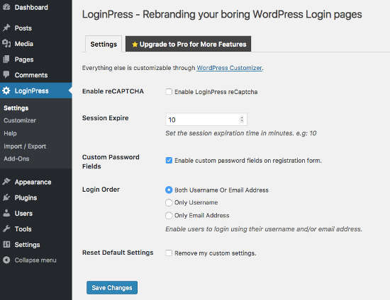 LoginPress Settings