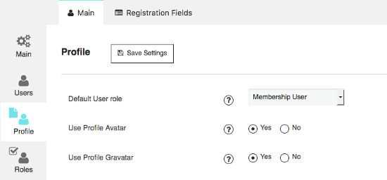 Profile Setting membership by supsystic
