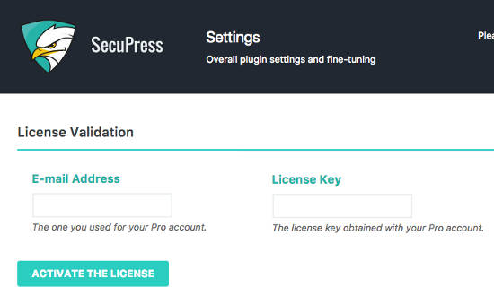 Secure Press Setting License