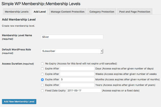 Simple Membership Add Level