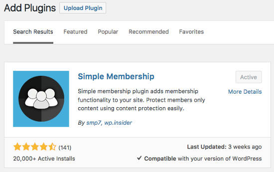 Simple Membership Plugin Install