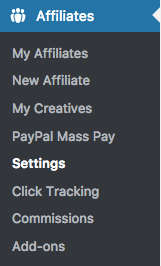 WP Affiliates Manager Menu