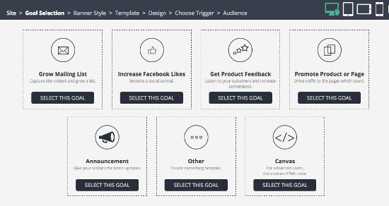 Bouncezap Tool Marketing Goal Selection