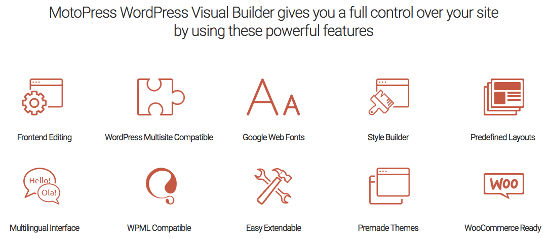 Editor Visual Builder MotoPress Features