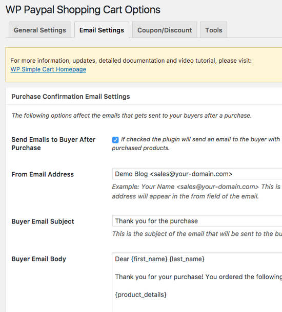 Email Setting Simple PayPal Shopping Cart