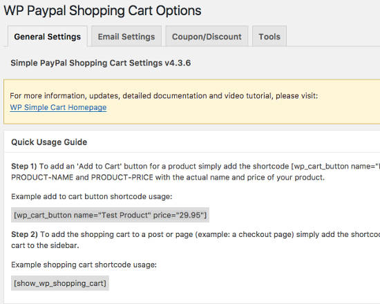 General Setting Simple PayPal Shopping Cart