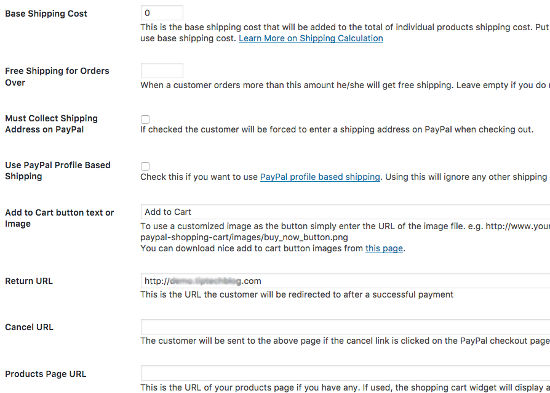 Shipping Setting Simple PayPal Shopping Cart