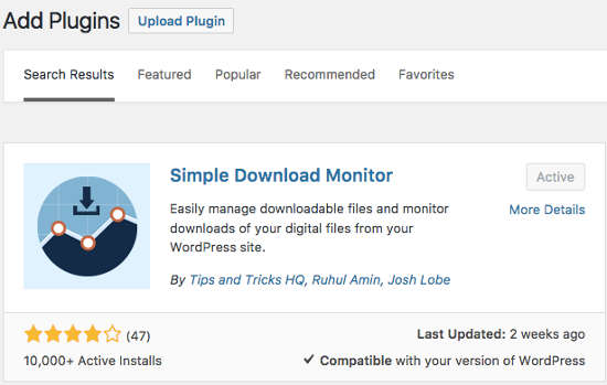 Simple Download Monitor Plugin