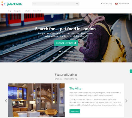 Vantage directory theme for WordPress