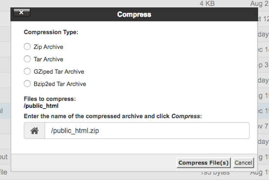 Backup WordPress Compress
