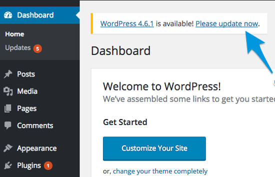 Notifikasi Update WordPress Core