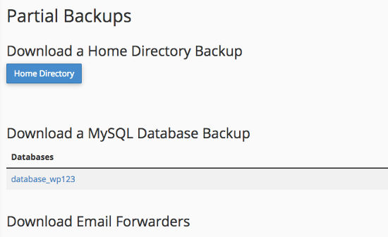 Cara Backup WordPress Partial Download Backup