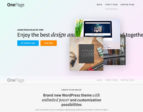 One Page Express Responsive Free WordPress Theme