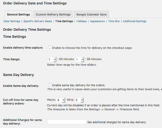Time Settings Order Delivery Date Pro
