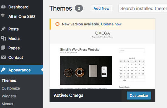 Update Themes WordPress