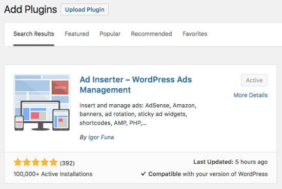 Install Ad Inserter WordPress