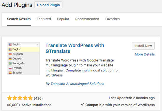 Install Plugin GTranslate WordPress