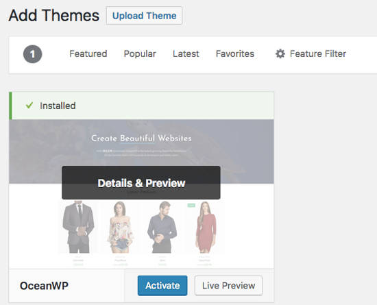 OceanWP Themes WordPress Install