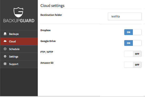 Plugin WordPress BackupGuard Setting Cloud