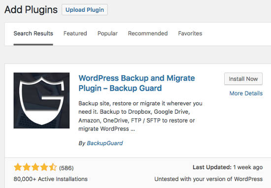 Plugin WordPress BackupGuard