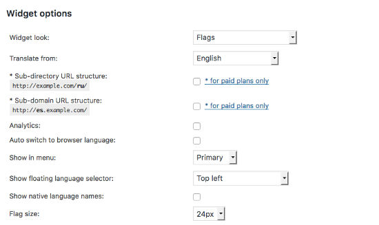 Widget Options GTranslate WordPress