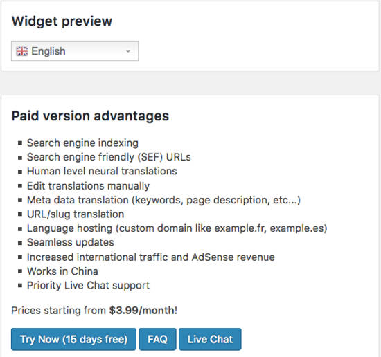 Widget Preview GTranslate WordPress