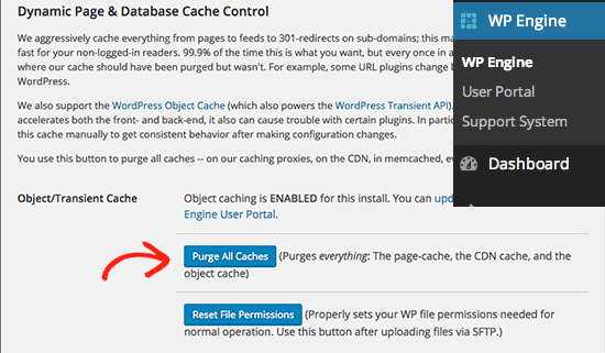 wpengine menghapus cache wordpress