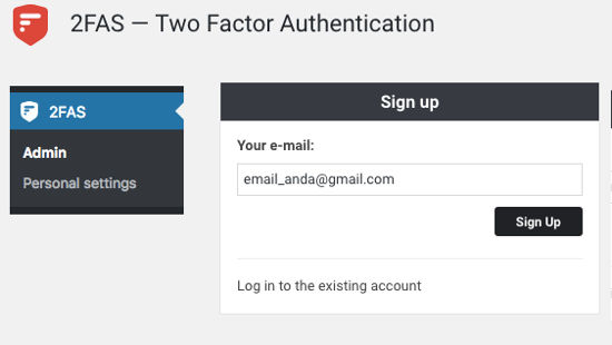 2FAS Two Factor Authentication Register
