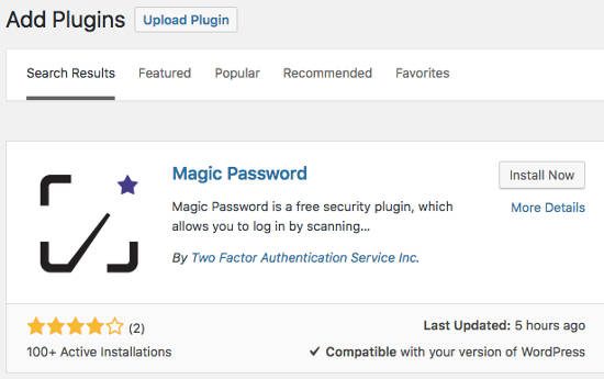 Magic Password Plugin Install