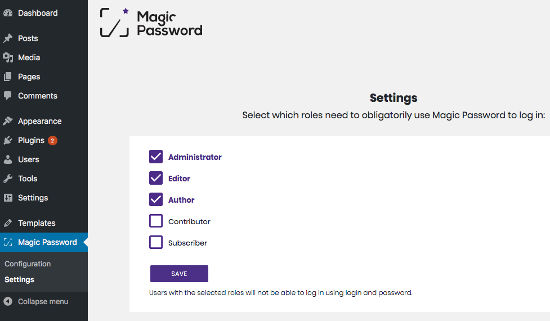 Magic Password Plugin Setting