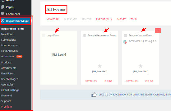 RegistrationMagic Form Builder Halaman Buat Formulir