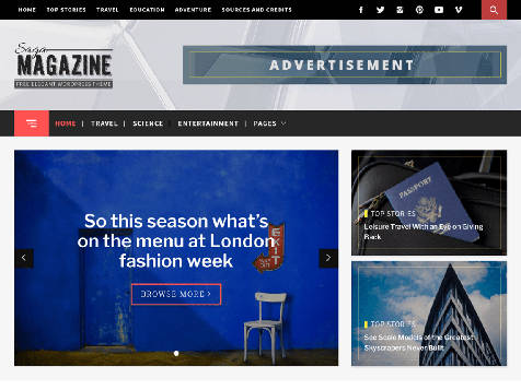 Theme WordPress Magazine Saga Responsive Free