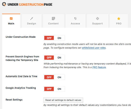 Under Construction Page Plugin Main