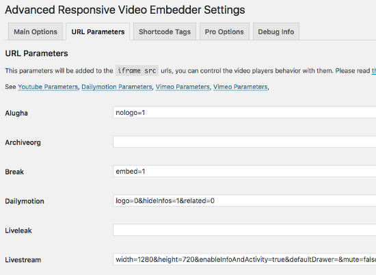 ARVE Advanced Responsive Video Embedder URL Parameters