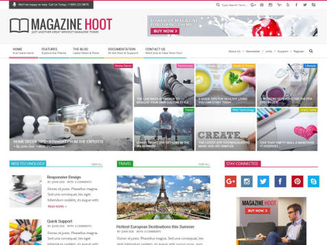 Theme WordPress Magazine Hoot Free