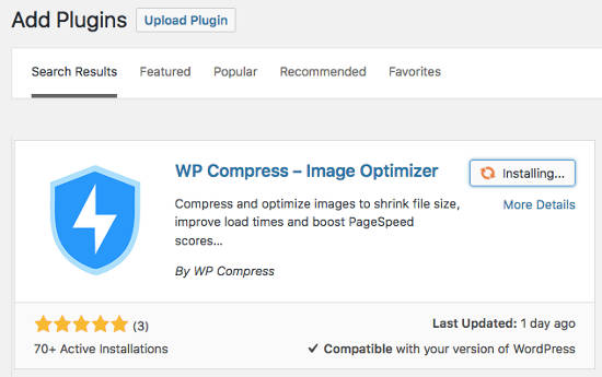 WP Compress Optimalkan Gambar Install