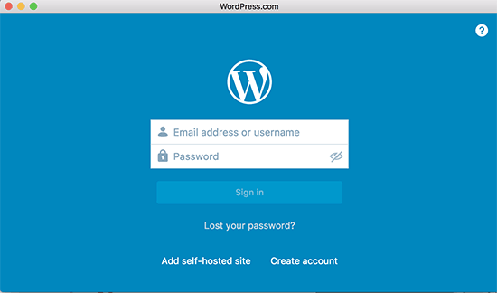 WordPress Desktop app login