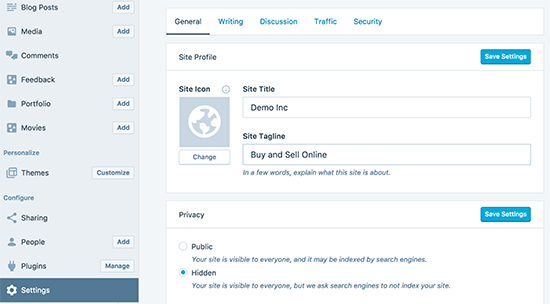 WordPress Desktop app settings