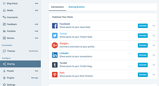 WP Desktop social sharing