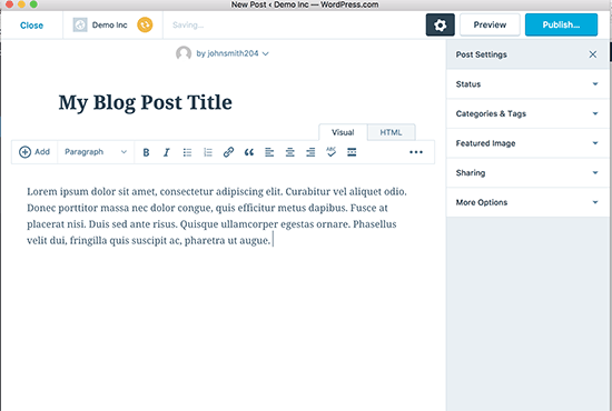 WordPress Desktop writing posts