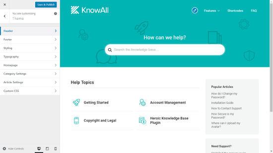 KnowAll Theme Knowledge Base WordPress Customizer