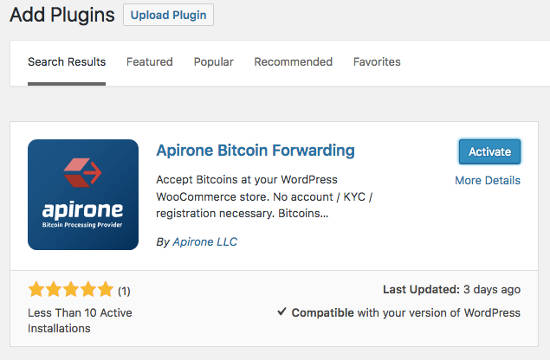 Plugin Apirone Bitcoin Install
