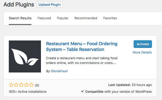 buat website restoran GloriaFood Install Plugin