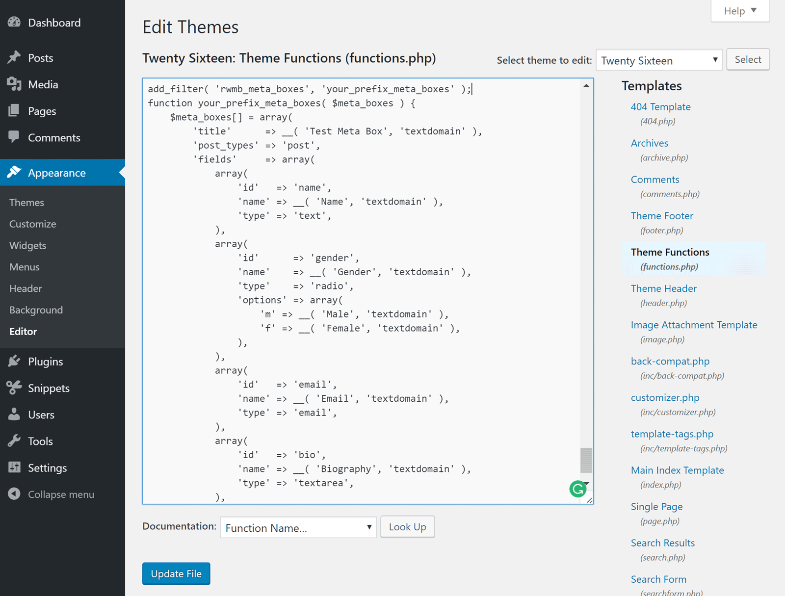 Meta Box WordPress Editor